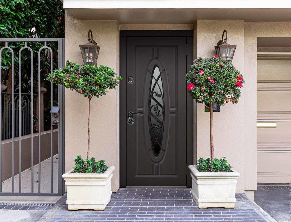 входная дверь с окном Монарх стальная линия отделка steellak коричневый рисунок О-Д