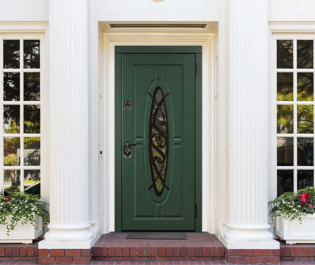 входная дверь с окном Монарх стальная линия отделка steellak зелёный турмалин рисунок О-Д