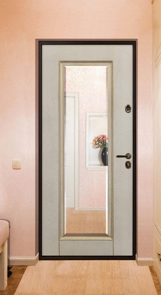Виконт стальная линия входная дверь с зеркалом