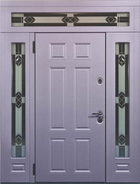 индивидуальный заказ стальная линия входная уличная дверь с боковыми доборами и фрамугой эмаль стеклопккеты витраж