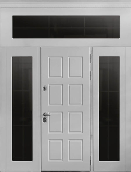 индивидуальный заказ стальная линия входная уличная дверь с боковыми доборами и фрамугой эмаль стеклопккет