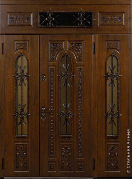 индивидуальный заказ стальная линия входная уличная дверь с боковыми доборами и фрамугой художественная фрезеровка ковка