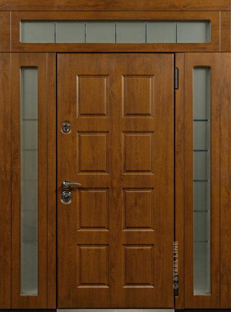 индивидуальный заказ стальная линия входная уличная дверь с боковыми доборами и фрамугой эмаль стеклопакеты витраж