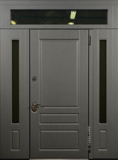индивидуальный заказ стальная линия входная уличная дверь с боковыми доборами и фрамугой эмаль стеклопккеты