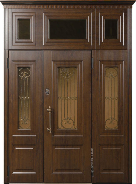 индивидуальный заказ стальная линия входная уличная дверь с боковыми доборами и фрамугой художественная ковка в стеклопакетах