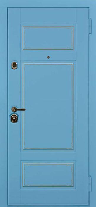 Кадриль Лайт синяя входная дверь классического стиля стальная линия П-40