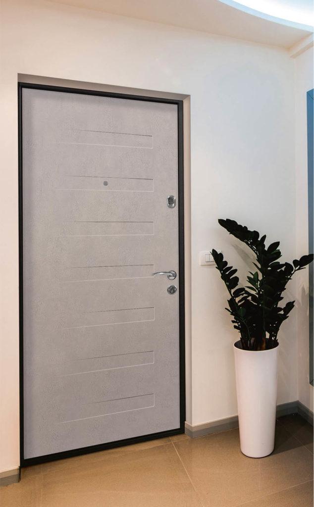Пиано входная дверь стальная линия горизонтальная фрезеровка