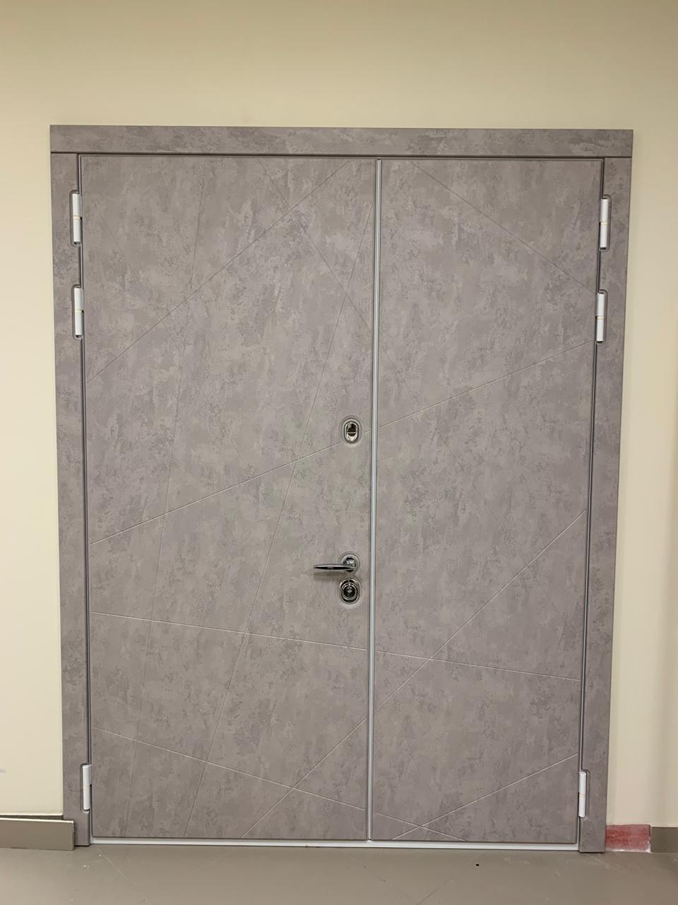 белая дверь Клео двупольная стальная линия
