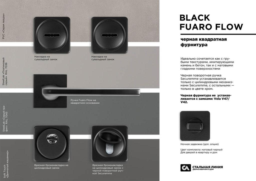 чёрная фурнитура для входных дверей стальная линия Fuaro Flow