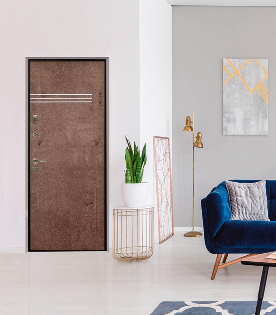 Винсент входная дверь Стальная линия шпон березы горизонтальные вставки молдинг алюминий