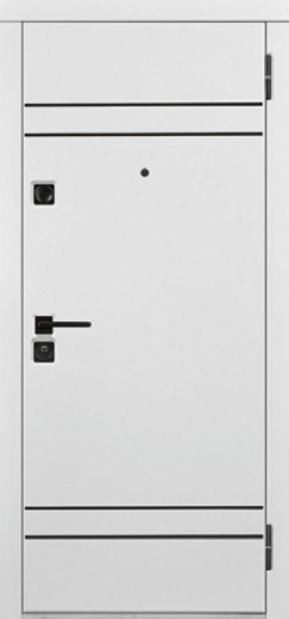 Входная белая уличная дверь с терморазрывом горизонтальные вставки молдинг чёрного цвета чёрная фурнитура для входных дверей стальная линия белорусские двери