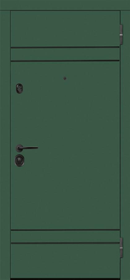 Входная зелёная уличная дверь с терморазрывом горизонтальные вставки молдинг чёрного цвета чёрная фурнитура для входных дверей стальная линия белорусские двери