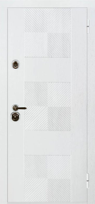 белая входная дизайнерская дверь стальная линия Брайтон
