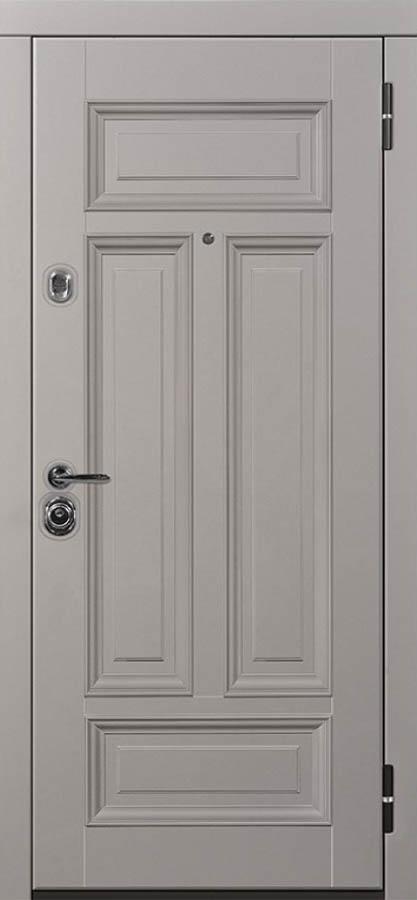 Сюита серая входная дверь классическая багет стальная линия Л-7