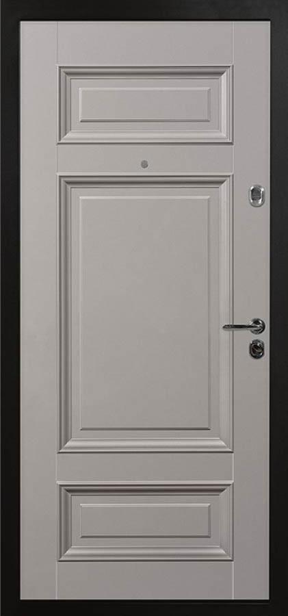 Сюита серая входная дверь классическая багет стальная линия Л-6