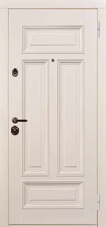 Сюита белая входная дверь классическая багет стальная линия Л-7