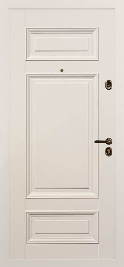 Сюита белая входная дверь классическая багет стальная линия Л-6