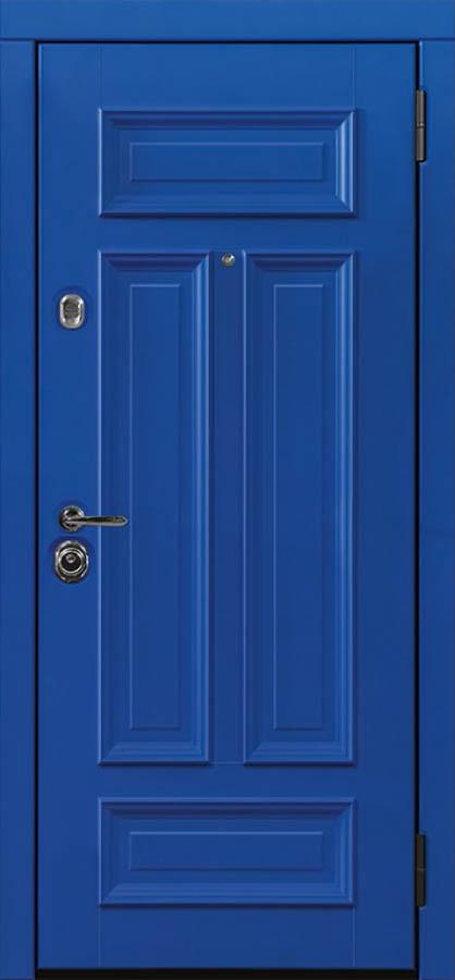 Сюита синяя входная дверь классическая багет стальная линия Л-7