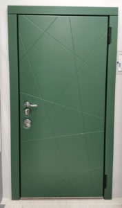 дизайнерская зелёная входная дверь д-13 steellak зелёный турмалин стальная линия