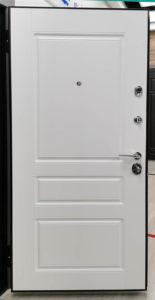 входная дверь классический стиль на три филёнки эмаль белая ral 9003 стальная линия