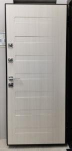 современная входная дверь рисунок пиано ПВХ лиственница полярная стальная линия
