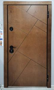 входная дверь в дом с терморазрывом массив дерева с натуральным шпоном bjork бьорк панель чёрная фурнитура стальная линия