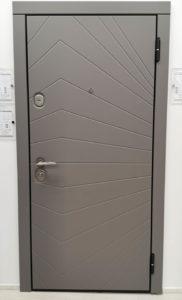входная современная дверь soft touch дымчатый кашемир Рэй-3 стальная линия