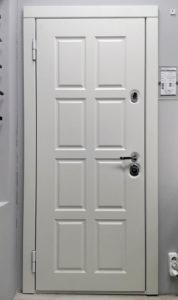 входная дверь экошпон премиум дуб снежный рисунок Н-40 Стальная линия