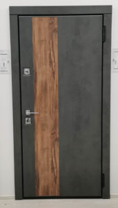 входная дверь стальная линия камень тёмно-серый вертикальная вставка дуб королевский корлеоне