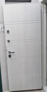 входная дверь ПВХ милки рисунок параллель стальная линия
