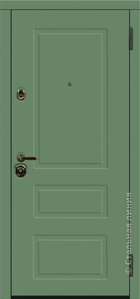 зелёная входная дверь Лиссабон Лайт стальная линия эмаль