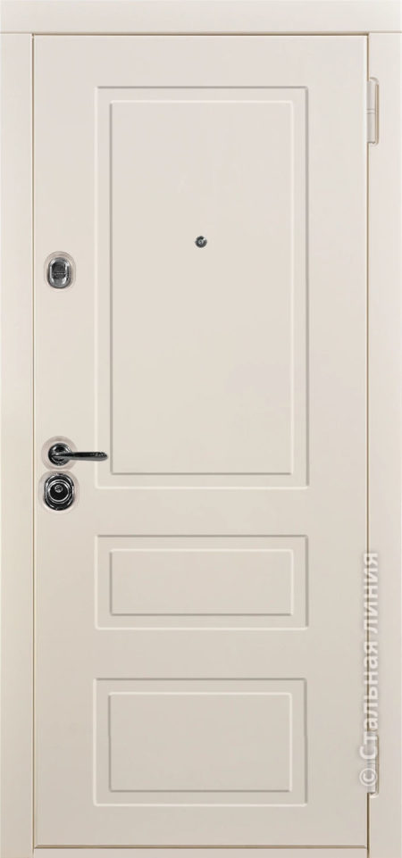 светлая входная дверь Лиссабон стальная линия эмаль слоновая кость