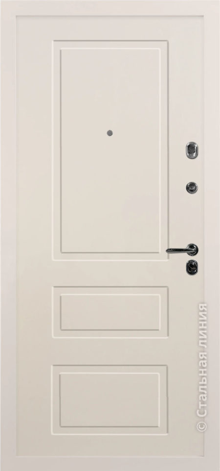 светлая входная дверь Лиссабон Лайт стальная линия эмаль слоновая кость
