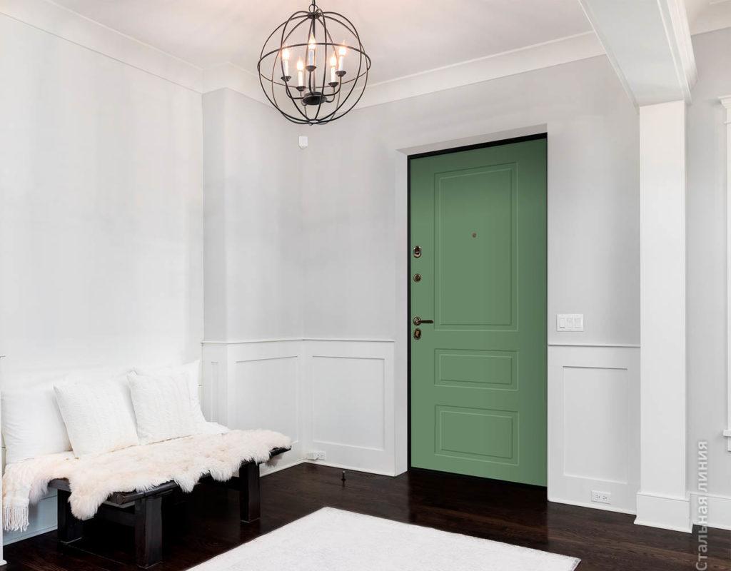 лиссабон зелёная входная дверь стальная линия рисунок NL-04