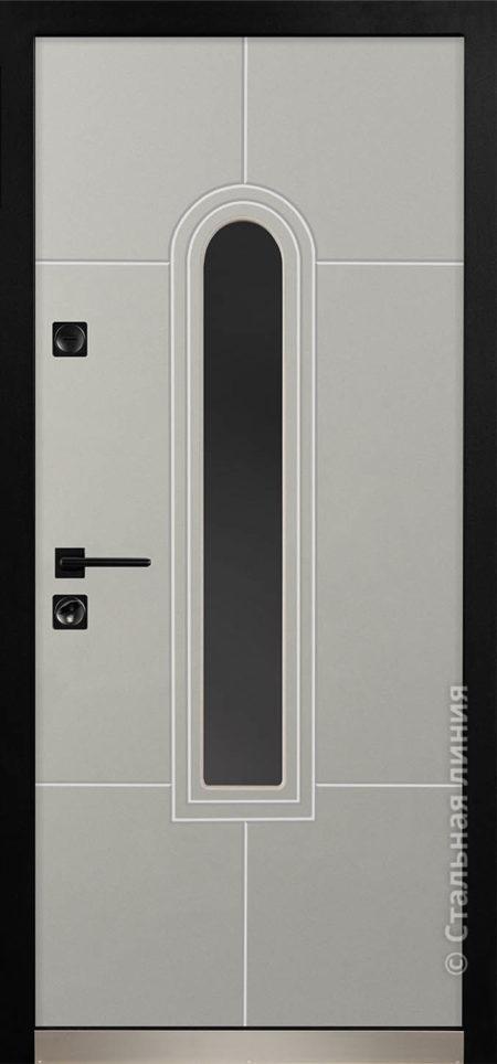 алькор мидл входная дверь в дом с терморазрывом и окном стальная линия steellak серый рисунок Н-92