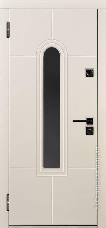 алькор входная дверь в дом с терморазрывом и окном стальная линия steellak слоновая кость рисунок Н-92