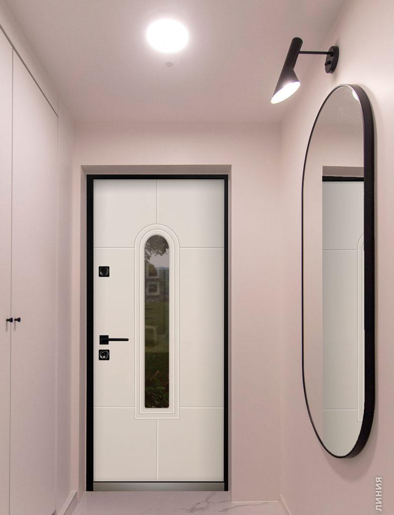 Алькор стальная линия входная дверь в коттедж с терморазрым и трёхкамерным стеклопакетом