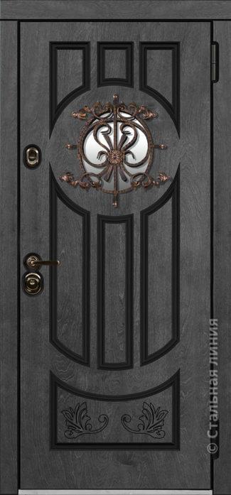 дафна серая входная дверь в дом с терморазрывом и круглым стеклопакетом художественной ковкой отделка бьорк терра рисунок П-60