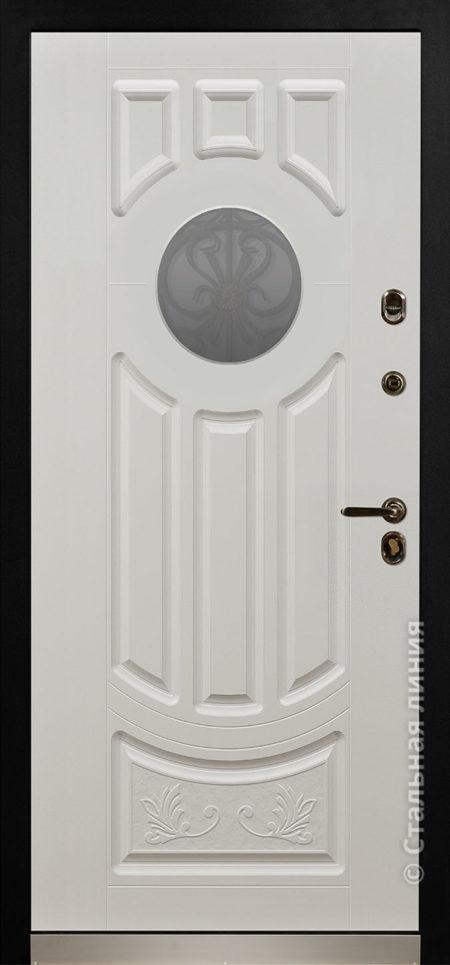 дафна серая входная дверь в дом с терморазрывом и круглым стеклопакетом художественной ковкой отделка steellak платиновый серый рисунок П-60