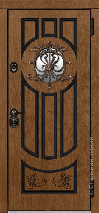 дафна мидл серая входная дверь в дом с терморазрывом и круглым стеклопакетом художественной ковкой отделка concord шабо рисунок П-60