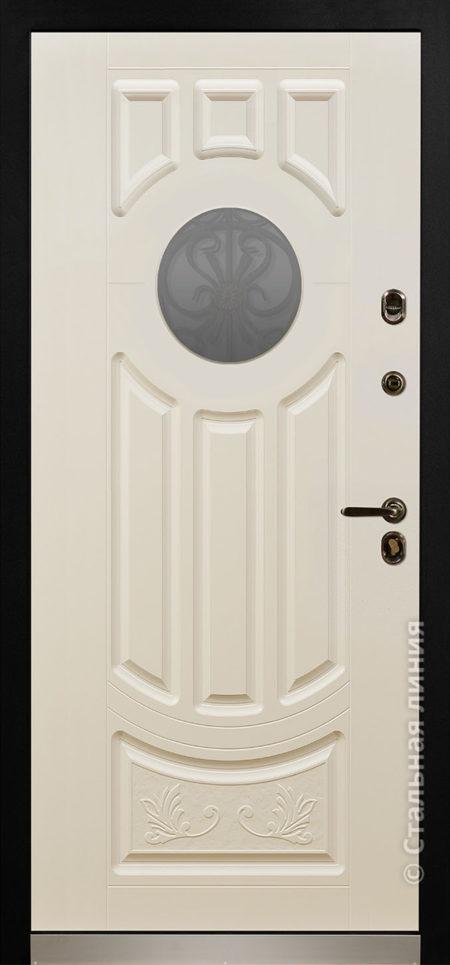 дафна мидл серая входная дверь в дом с терморазрывом и круглым стеклопакетом художественной ковкой отделка steellak слоновая кость рисунок П-60