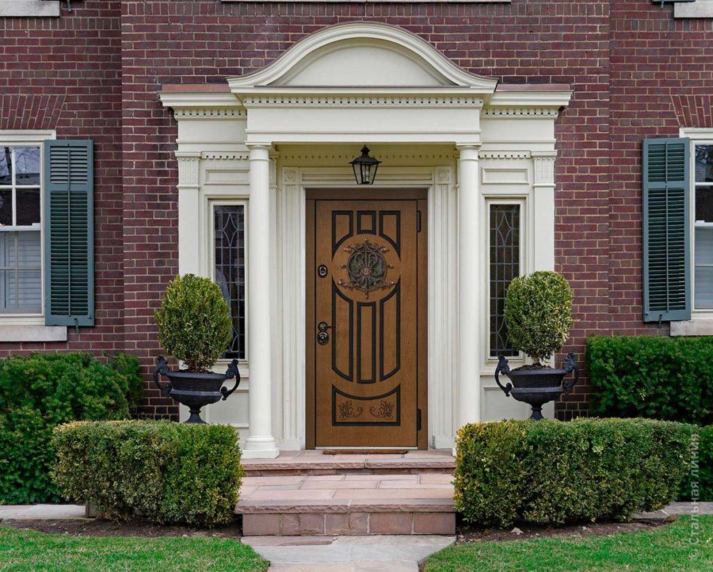 дафна входная дверь в дом с терморазрывом и круглым стеклопакетом художественная ковка стальная линия