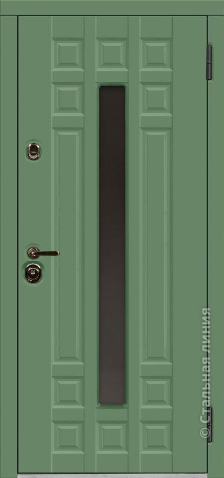 дастан входная дверь стальная линия терморазрыв стеклопакет С2 steellak оливковый рисунок П-59