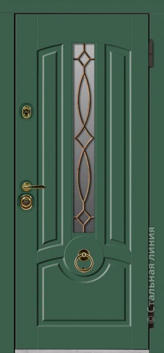 дели зелёная входная дверь стальная линия терморазрыв стеклопакет ковка отделка steellak зелёный турмалин рисунок П-56