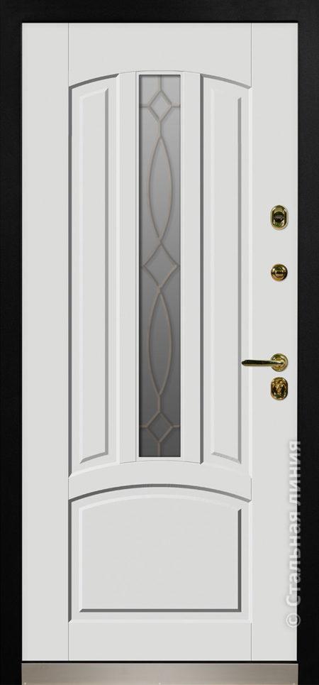 дели белая входная дверь стальная линия терморазрыв стеклопакет ковка отделка steellak белый рисунок П-54