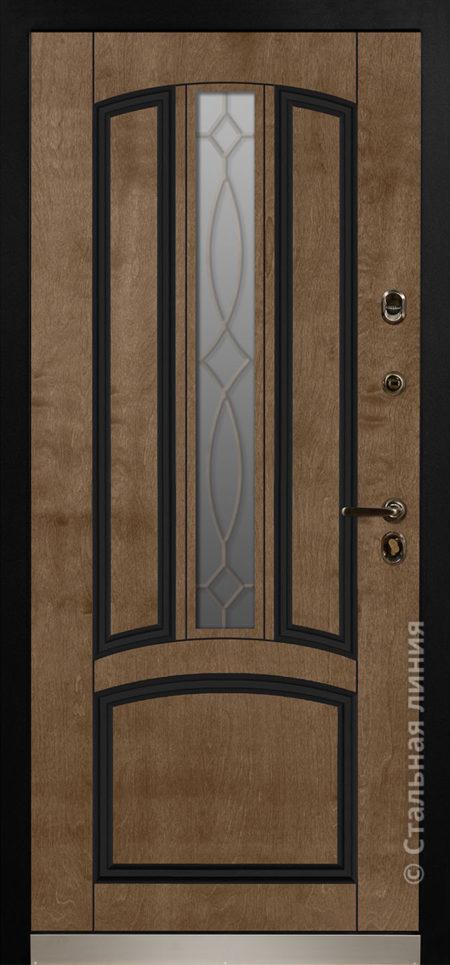 дели входная дверь стальная линия терморазрыв стеклопакет ковка отделка бьорк эбен рисунок П-54