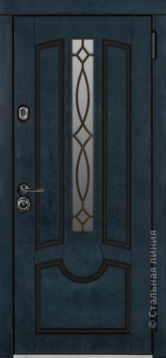 дели мидл входная дверь стальная линия терморазрыв стеклопакет ковка отделка бьорк индиго рисунок П-56