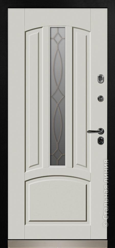 дели мидл серая входная дверь стальная линия терморазрыв стеклопакет ковка отделка steellak серый рисунок П-54