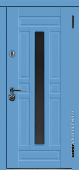 гавана стальная линия входная дверь с терморазрывом и стеклопакетом С2-К steellak небесно-голубой рисунок П-58