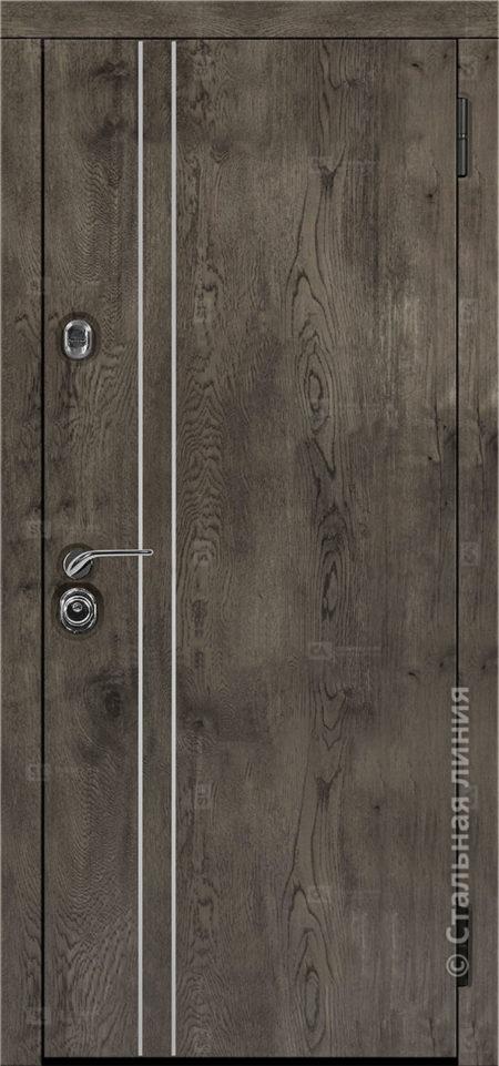 входная дверь лестер стальная линия экошпон премиум дуб йорк серый вставка алюминиевый молдинг рисунок техно-24